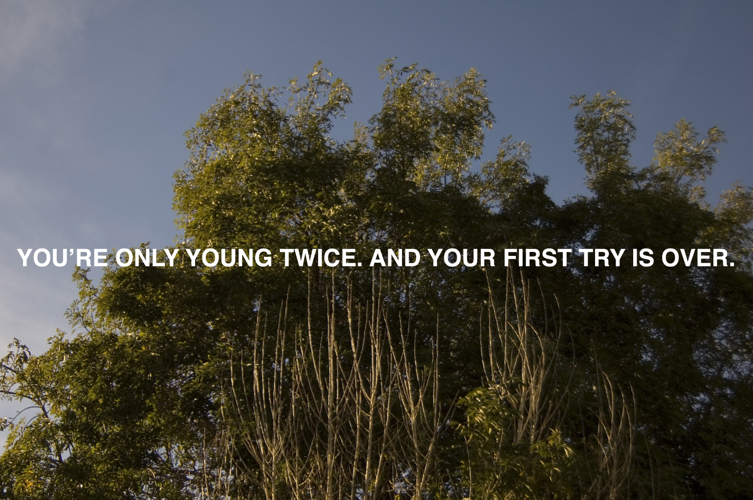 You're Only Young Twice. And Your First Try is Over.